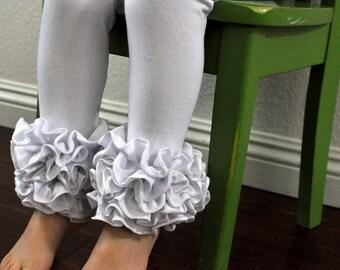 White Leggings with Multi-Fold Ruffles  / Girls Leggings / Ruffle Leggings for Girls
