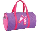 SHIPS NEXT DAY---Personalized Monogrammed Stephen Joseph Quilted Ballet Slipper Duffle Bag Dance Travel Tote Bag --Free Monogramming