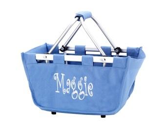 SHIPS NEXT DAY--- Monogrammed Reusable Mini Market Tote Basket Hydrangea --The Perfect Easter Basket--Free Monogramming--