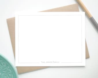 Custom Stationery Note Cards with Border / Personalized Stationary with Thin Border / Set of 12 Custom Notecards