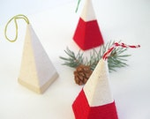 Set of 3 Modern Wrapped Paper Christmas Tree Ornaments in Red and White