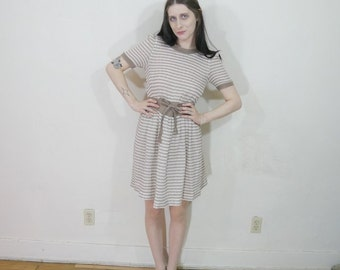 vtg 70s knit taupe and cream striped dress size m