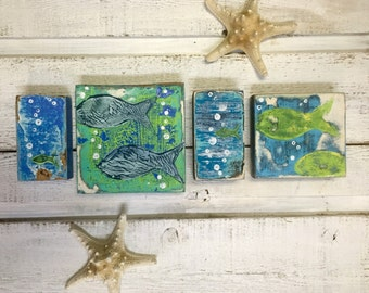 Original Painting Seascape Art Block Set of 4 Fish Beach House Decor by CastawaysHall - Ready to Ship