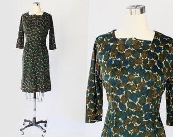 SALE // 1950s Leaf Print Knit Dress // 50s Vintage Berkshire Three-Quarter Sleeve Green Dress // Small - Medium