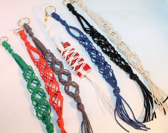 Choose your Color- thick hemp macrame lighter leash keychain, natural, hippie, music festivals