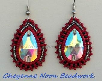 Native American Beaded Earrings - Teardrop Crystal - Hematite Gray, Red, & Black