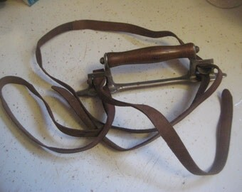 Antique Victorian Leather Book Strap/Carrier; Double Straps, Metal & Wood Handle, Dated 1878, School Books, Home Decor Book Display