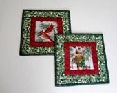 Cardinal Mug Rug, Mug Mat, Snack Mat, Placemat, Coaster, Winter, Holly, Christmas, Set of Two