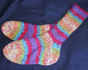 Hand Knit Socks, multi-color acrylic yarn, perfect jeans accessory