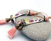 Tassels for your ears - bohemian chic, long lightweight earrings in pastel pink, brass and black
