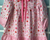 Girls Valentine dress, pink and red, little cakes
