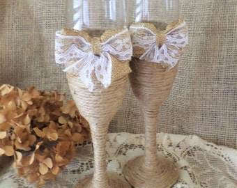 Rustic, Country Wedding Toatsting Glasses