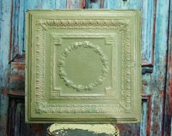 Large Antique Tin Ceiling Tile ~ 24 x 24 ~ salvaged