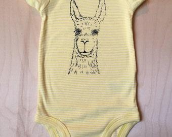 Baby Bodysuit: Llama on yellow stripe, 3-6 months