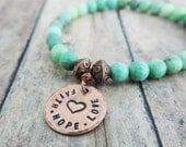 Faith Hope Love Beaded Bracelet - Christian Jewelry - Stamped Jewelry - Copper Stretch Bracelet - Apple Green Chrysoprase