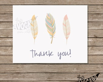 Earthy Feather Everyday Thank you Card - Instant Download (or professional printing available)