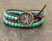 Turquoise Dragonfly Bracelet Bold Boho Dragonfly Jewelry Double Leather Wrap Bracelet
