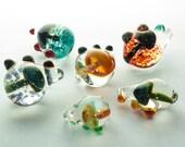 Five Repurposed Glass Mushroom Pendants