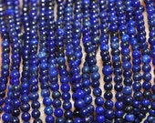 """16"""" Strand 2mm Natural Afghanistan Pyrite LAPIS LAZULI Tiny Seed Beads - H0982"""