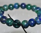 20 Pieces 6mm Lovely~Natural Lapis MALACHITE CHRYSOCOLLA CHESSYLITE Round Beads - E0983