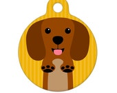 Pet ID Tag - Brown Dachshund Pet Tag, Dog Tag