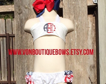 Red White Blue 4th of July Summer stars stripes Ruffled Halter Swimsuit Bikini Personalized Monogrammed - Baby Toddler Youth vonBoutiqueBows