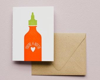 Letterpress Card - You're a Hottie