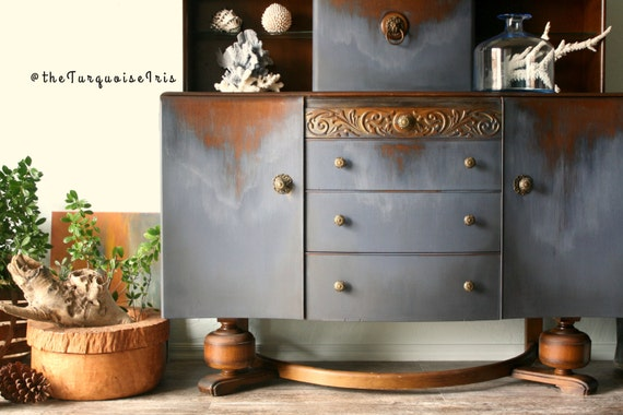 Navy Buffet Hand Painted with a Distressed Finish in Shades of Blue Coastal Waters / Denim Wash