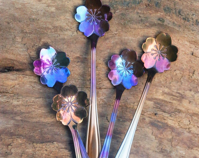 Absinthe Spoon Flower, Blue Purple Red Spoon, Ice Cream Party, Sugar Skull Bridesmaids Custom Tokens, Rainbow Colored Metal,fancy Florals