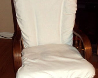 Glider Rocker Slip Cover FOR YOUR Glider Cushions -White cotton Blend  Slipcover or Any Color you choose.