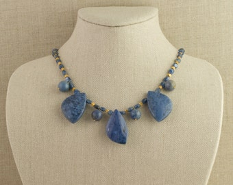 Blue and Gold Necklace Sodalite Kyanite 24 k Vermeil Regal Statement