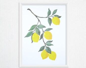 Lemon Watercolor Print - Fruit Art, Kitchen Print - 8x11 Kitchen Wall Art / Wall Decor