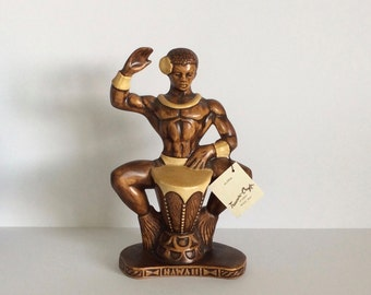 Vintage, Mid-Century Treasure-Craft of Hawaii Male Drummer Figurine w/Original Tag 1959