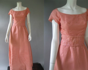 Vintage 1960s Pink Formal Dress - 60s Silk Organdy Dress - Garfunkle's S