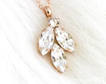 White Crystal Bridal Necklace, Bridal Rose Gold Necklace, White Crystal Cluster Necklace,Bridal Necklace,Gift for her,Bridal Silver Necklace
