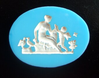 BWB Endearing Vintage Venus with Playful Cupid OVAL Cab Wedgewood Inspired (1) 40MM