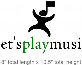 lets play music logo wall vinyl simple