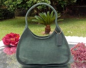 LABOR DAY SALE Gorgeous --Authentic Vintage Coach ---Dark Green Suede Leather --Rare Shade~ Like New