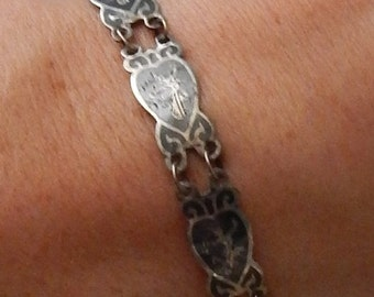 DISCOUNTED Delicate Vintage STERLING  925~~ SIAM~~Dancers ~ Slim Bracelet~~ Lovely Condition