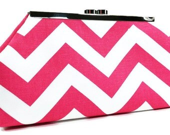 Clutch Purse - Pink and White Chevron