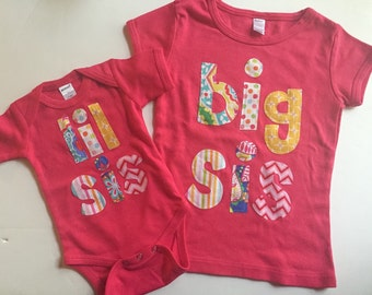 Big Sister Little Sister Shirt Set, Big Sis Lil Sis Sibling Shirts -Perfect for Family Pics, Pregnancy Announcement, Baby Shower Gift - Choo