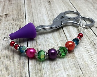Rainbow Beads Scissor Fob, Sewing Accessories, Scissor Charm, Zipper Pull, Needle Craft Gifts, Beaded Lanyard