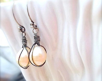 Handmade, Oxidized Sterling Wire Wraped Freshwater Pearl Earrings . Stunning Contrast . Edgy Bridal Earrings, Your Daily Jewels