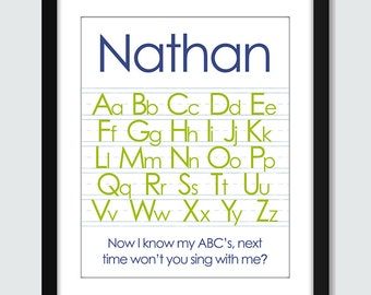 Alphabet and Numbers with Custom Name (Set of 2) Wall Art - 8x10 Custom ABC Wall Print Poster