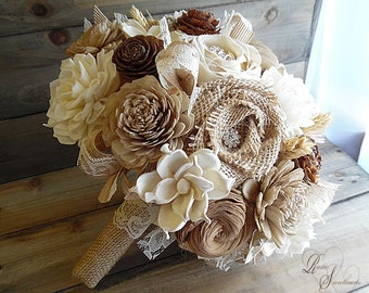 "Ready to Ship ~~~ Cedar Rose, Wheat and Sola Flower Bouquet, with Jute, Burlap, Lace, Rhinestones. Large, measures 10"" wide."