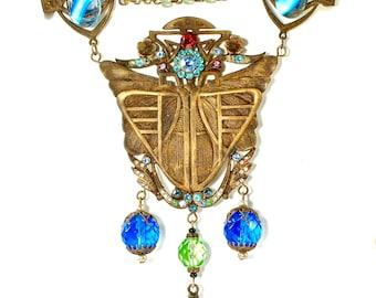 Vintage Art Nouveau Czech Glass Egyptian Necklace Moth Butterfly