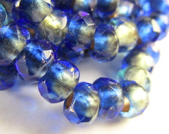 10 Czech Glass Large Hole Mediterranean Waters Cobalt Blue Roller Jewelry Beads 9mm x 6mm Faceted Rondelles with 4mm holes