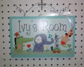 Yoo Hoo/You Who/Jungle Animals Wood Door Sign/Plaque Nursery Decor/Baby/Kids/Teacher Personalized with any Name or Text So Cute!
