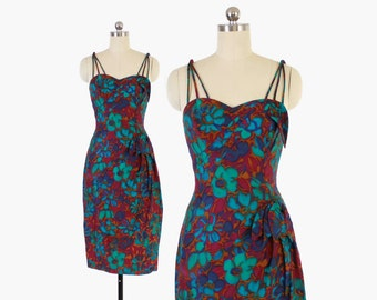 Vintage 50s HAWAIIAN Sarong DRESS / 1950s Alix of Miami Floral Sun Dress XS
