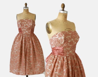 Vintage 50s PARTY DRESS / 1950s Dusty Rose Pink Lace Strapless Bridal Wedding Prom Dress M